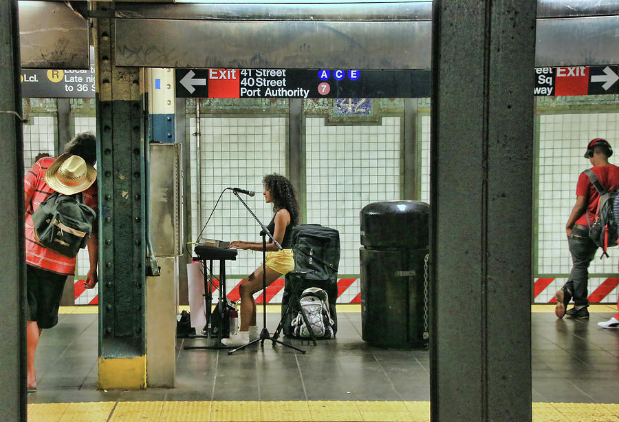 Performers Photograph - N Y C Subway Scene # 10 by Allen Beatty