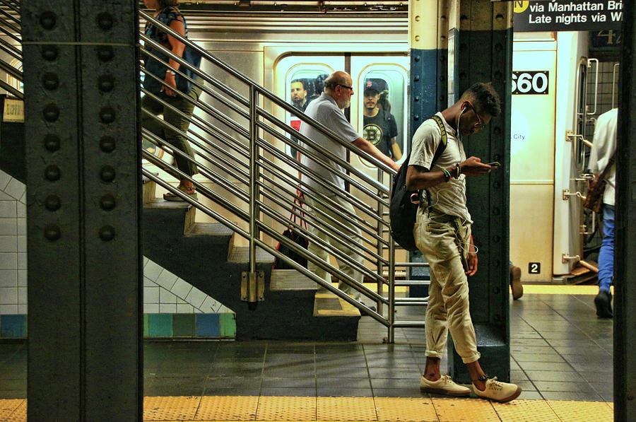 Performers Photograph - N Y C Subway Scene # 9 by Allen Beatty
