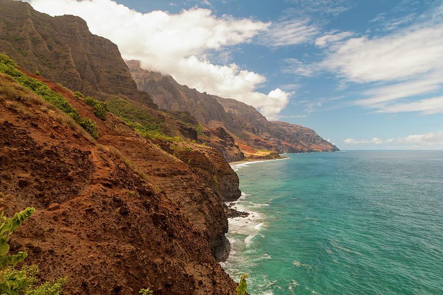 Na Pali Coast From Kalalau Trail Kauai Hawaii Valley Beach Photograph - Na Pali Coast 5 by Brian Harig