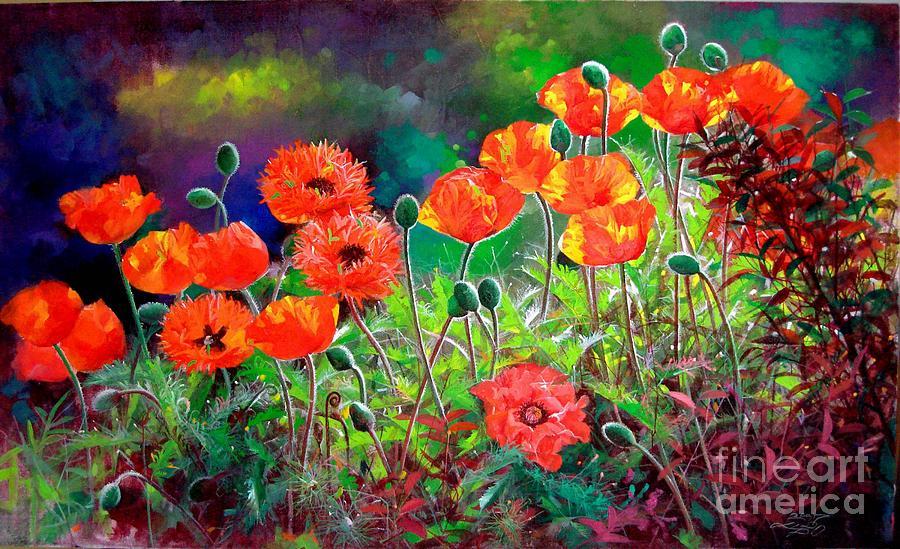 Flower Painting - Nacarat Poppy  by Bo Li