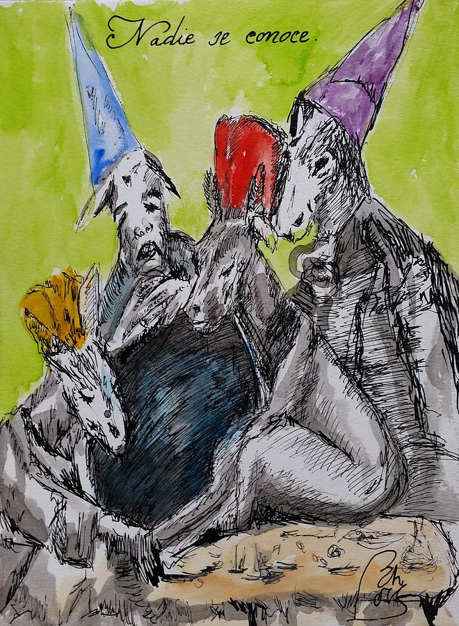 Politics Painting - Nadie se conoce.Nobody knows himself Satiric Paintings IV by Bachmors Artist
