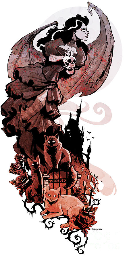 Gothic Digital Art - Nadjas Flight by Brian Kesinger