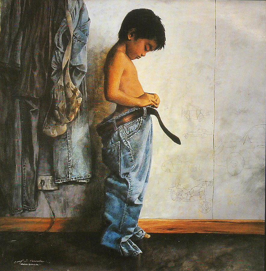 People Painting - Nagbibinata Means A Boy Growing Up  by Toti Cerda