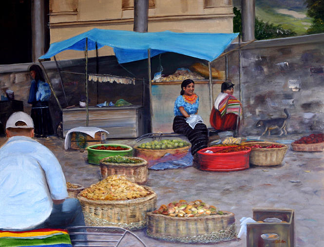 Figurative Painting - Naguale Plaza by Helen Albritton