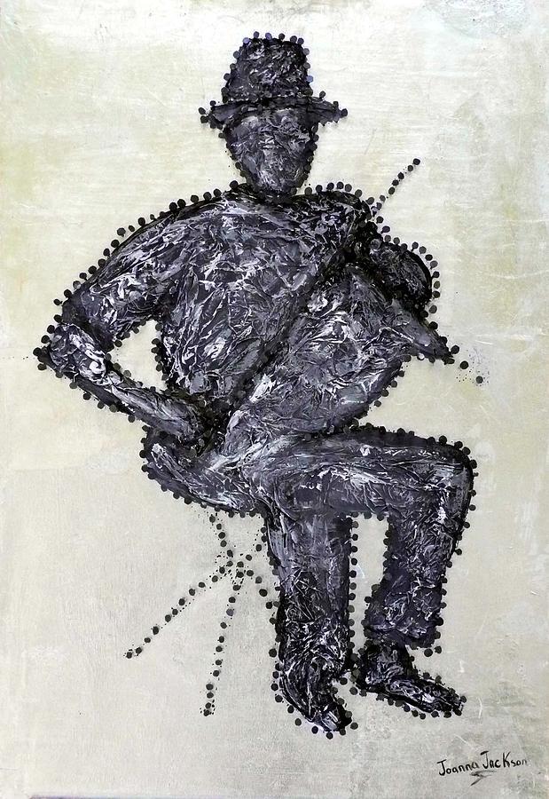Texture Painting - Nail Violin Man by Joanna Jackson