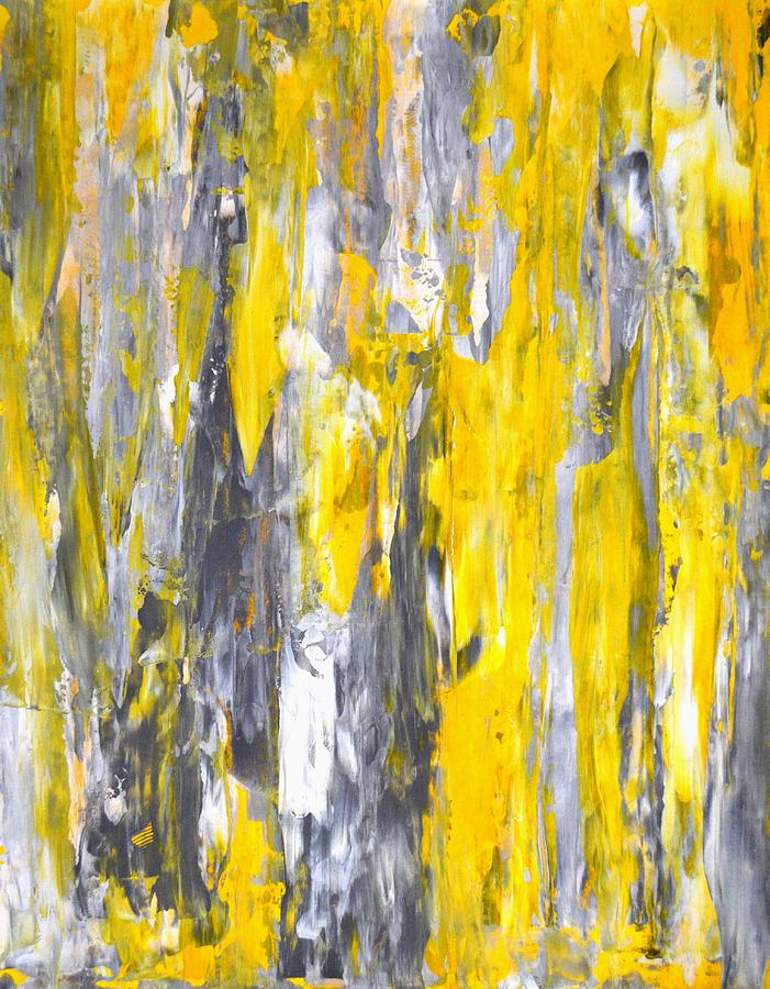 Nailed It Grey And Yellow Abstract Art Painting Painting