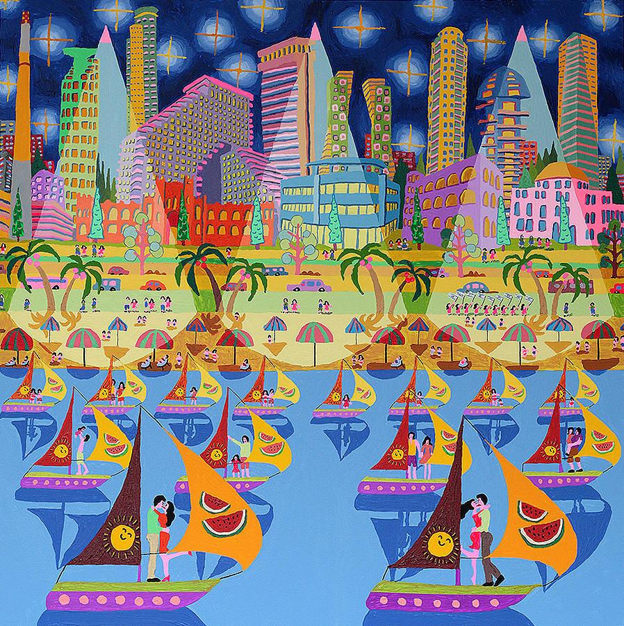 Jerusalem Naive Art Acrylic Painting By Raphael Perez