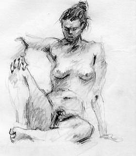 Naked Girl Drawing - Naked Girl by L Turbazzi
