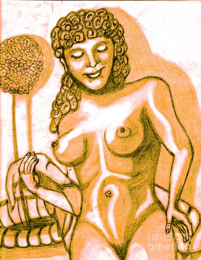 Statue Drawing - Naked Goddess by Richard Heyman