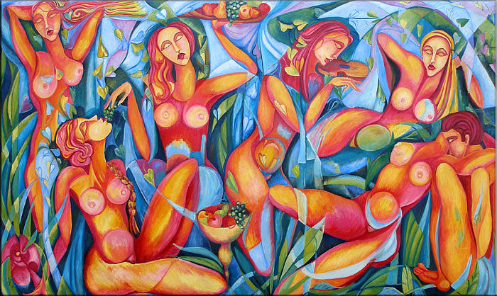 Party Painting - Naked Party by Ana Covaci