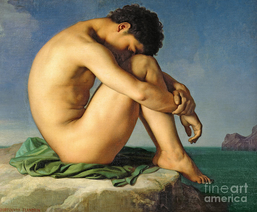 Nude Painting - Naked Young Man Sitting By The Sea, 1836 by Hippolyte Flandrin