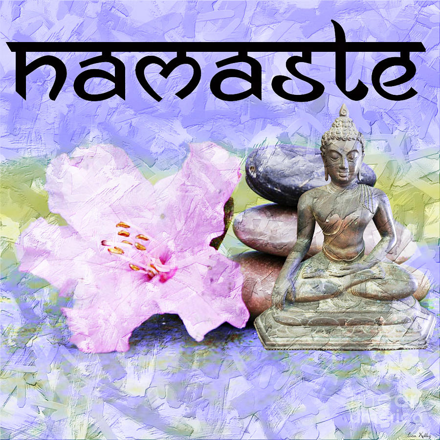 Namaste Mixed Media - Namaste Buddha. V3 by Lita Kelley