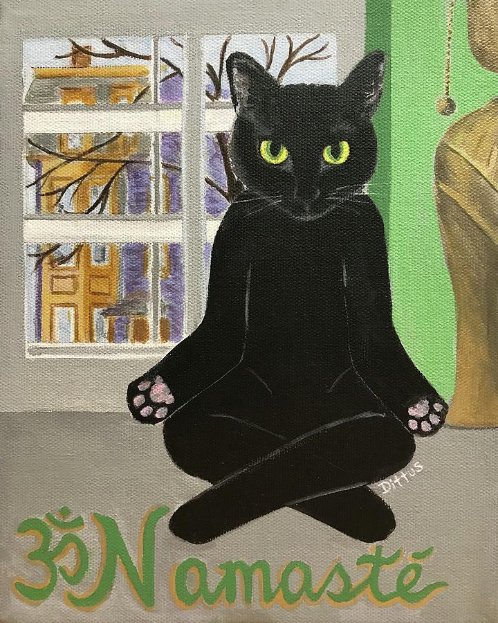 Black Cat Painting - Namaste Cat by Chrissey Dittus