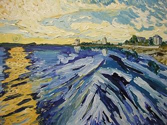 Nanaimo Sunrise Painting by Alfred Muma