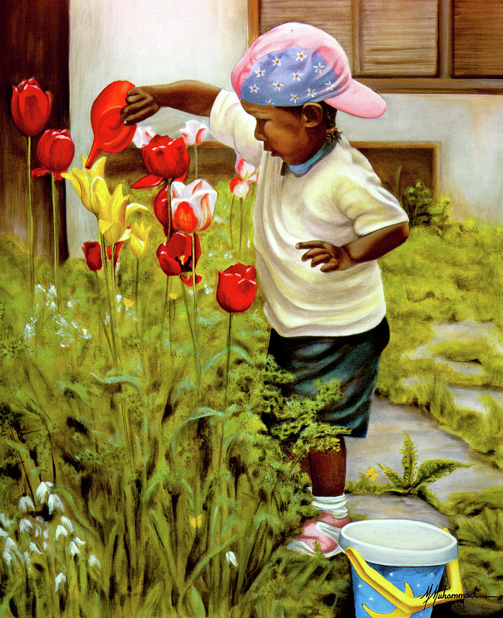 Child Painting - Nanas Little Helper by Marcella Muhammad