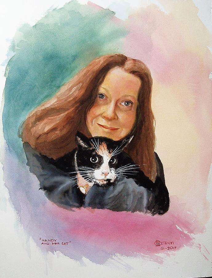 Maca Painting - Nandi And Her Cat by Charles Hetenyi