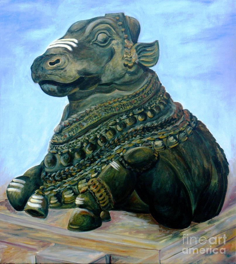 Hindu Paintings Painting - Nandi by Murali