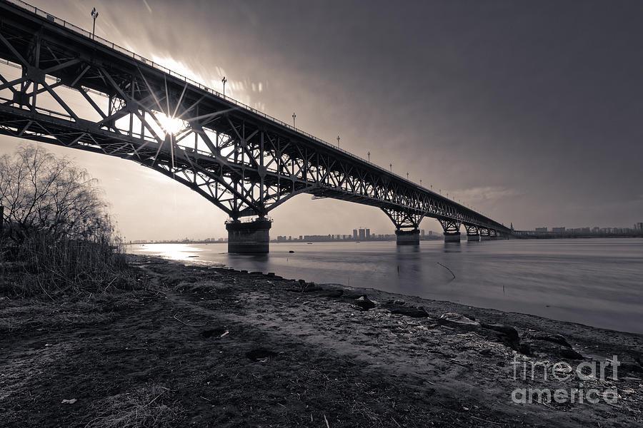 Nanjing Yangtze River Bridge Sihlouette A by James L Davidson