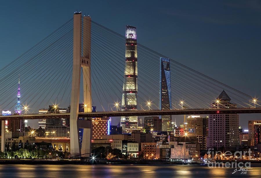 Nanpu Bridge Photograph - Nanpu Bridge Shanghai by Jeffrey Stone