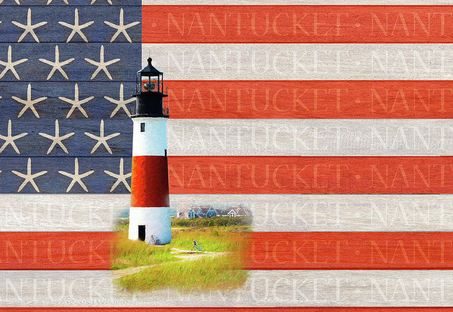 Nantucket Flag with Sankaty Lighthouse by Barry Wills