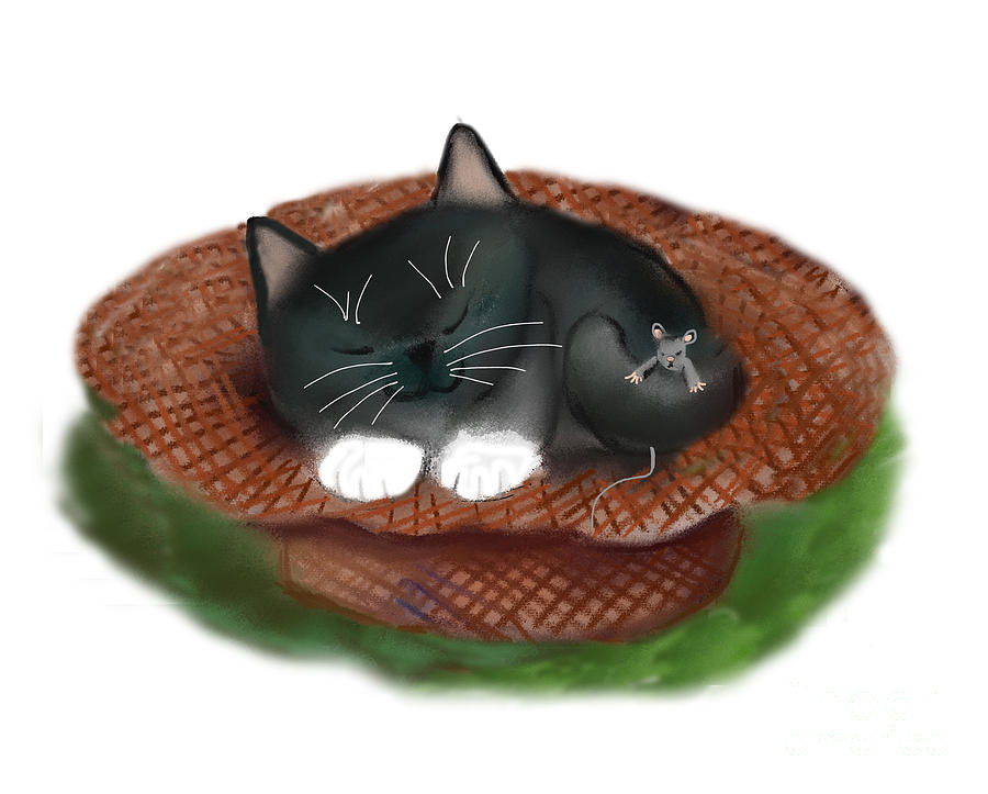 Nap in Straw Hat for Kitty and Mouse by Ellen Miffitt