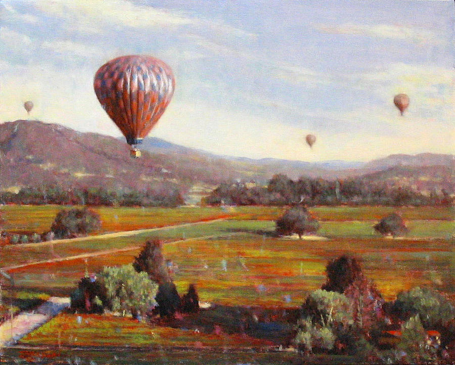 Landscape Painting - Napa Balloon Autumn Ride by Takayuki Harada