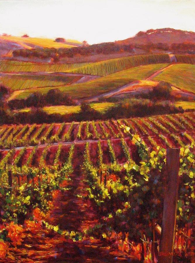 Wine Grape Painting - Napa Carneros Summer Evening Light by Takayuki Harada