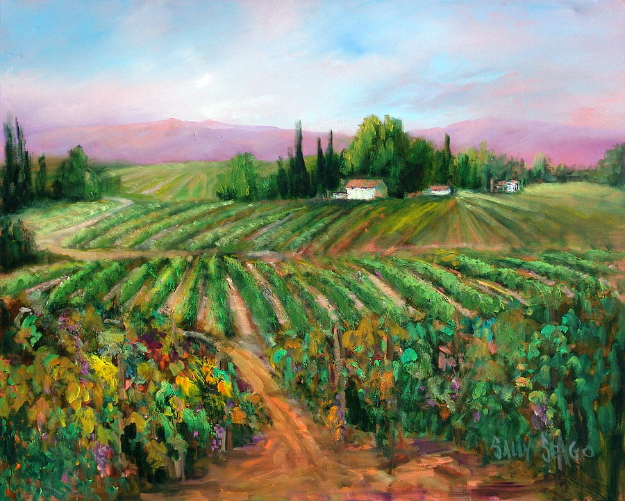 Wine Painting - Napa Harvest by Sally Seago