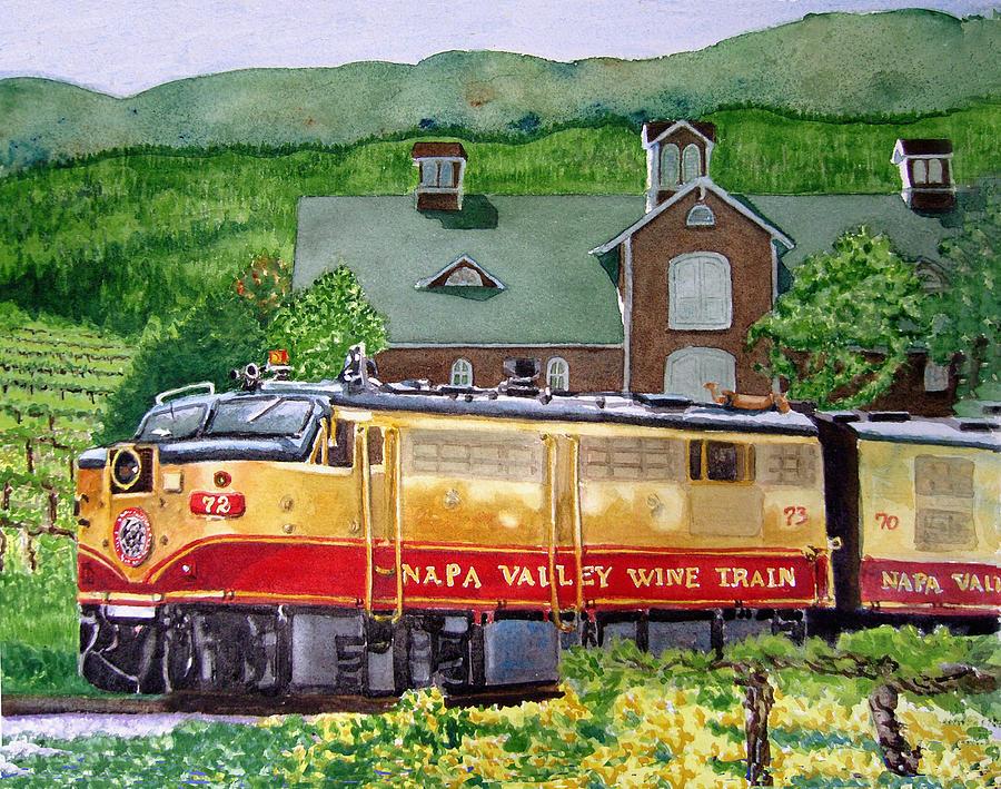 Napa Valley Wine Train Painting - Napa Wine Train by Gail Chandler