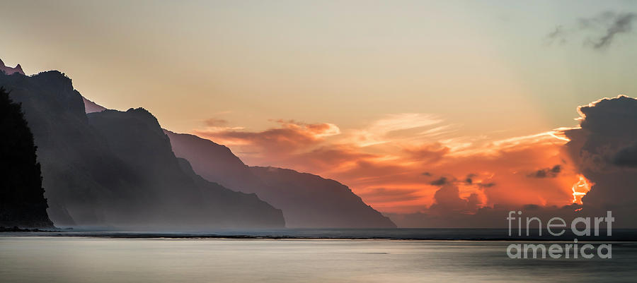 Napali Coast Kauai Hawaii Panoramic Sunset by Dustin K Ryan