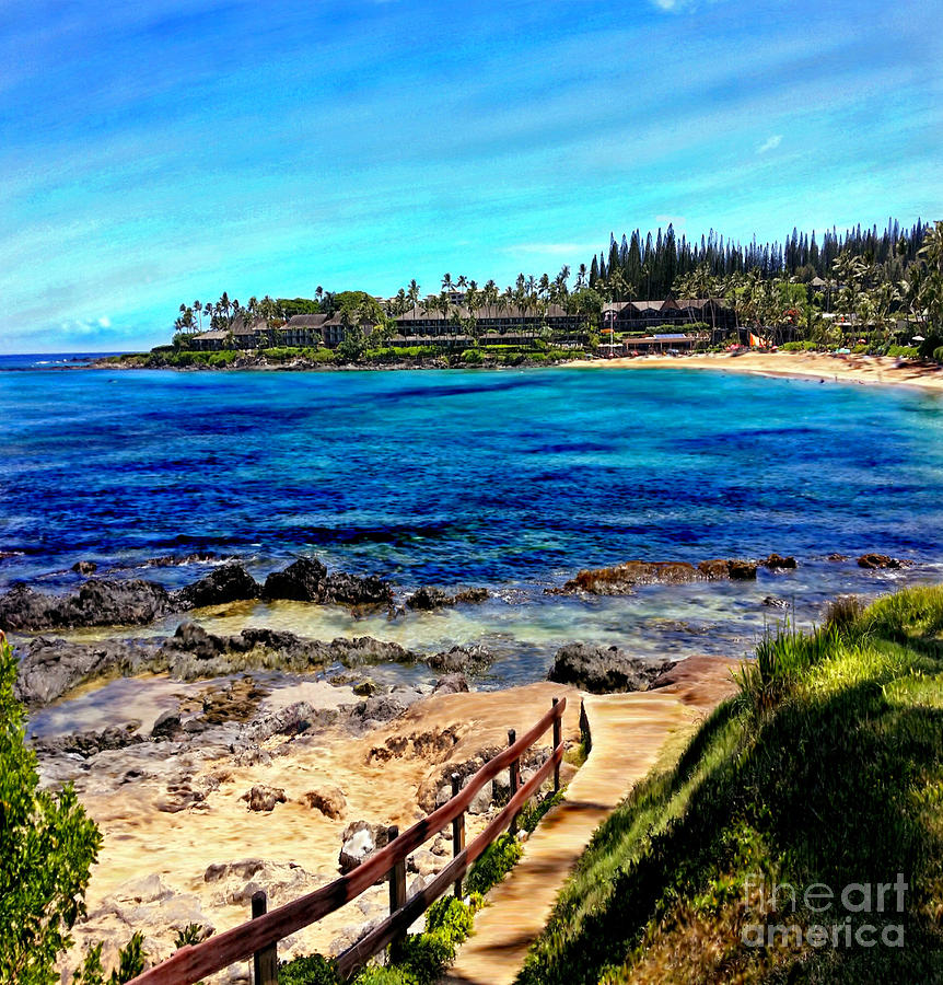 Napili Beach Gazebo Walkway Shower Curtain Size by Glenn McNary
