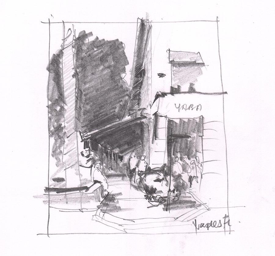 Pencil Painting - Naples 5th Ave Corner by Gaston McKenzie