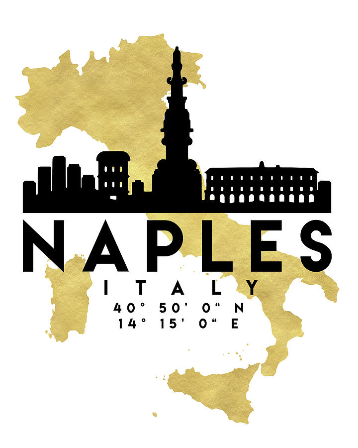 Naples Italy Silhouette City Skyline Map Art Digital Art by Emiliano ...