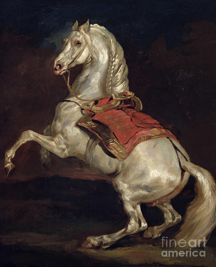 Napoleon 39 s stallion tamerlan painting by theodore gericault for Napoleon horse painting