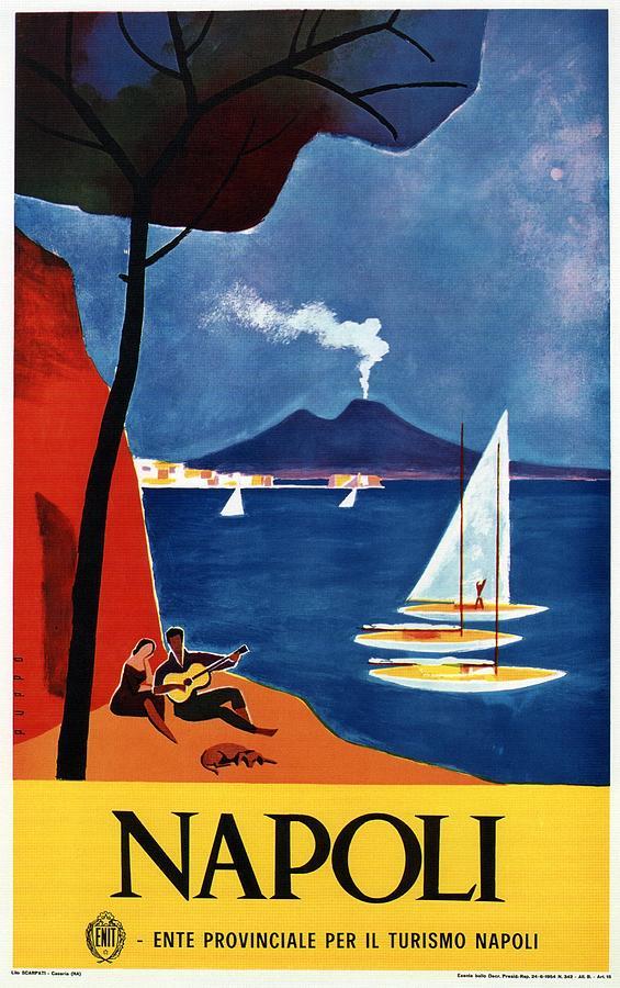 Napoli - Naples, Italy - Beach - Retro Advertising Poster - Vintage Poster Mixed Media