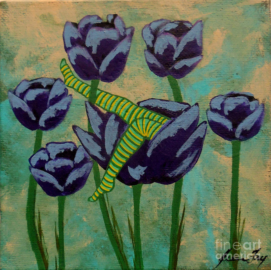 Fairy Napping in the Purple Tulips by Jean Fry