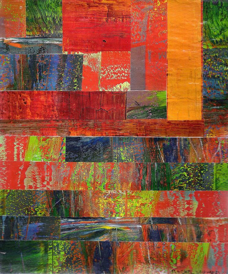 Abstract Collage Mixed Media - Naptime Collage 07 by Rachel Loewens