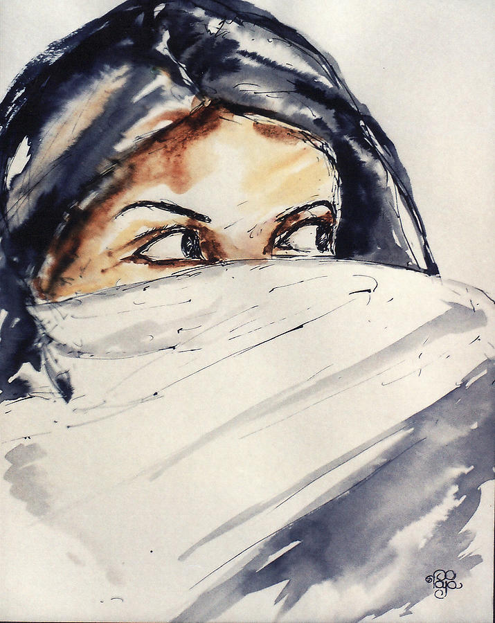 Portrait Painting - Naqaab 01 by Mohd Raza-ul Karim