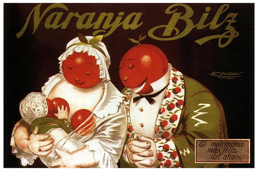 Naranja Bilz - Orange Soda - Vintage Drinks Advertising Poster By Achille Mauzan Mixed Media
