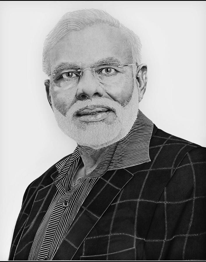 Narendra Modi Drawing by Amarjeet Singh