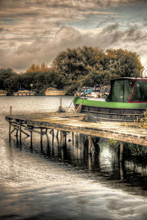 Hdr Photograph - Narrow Boat And Jetty by Vicki Field