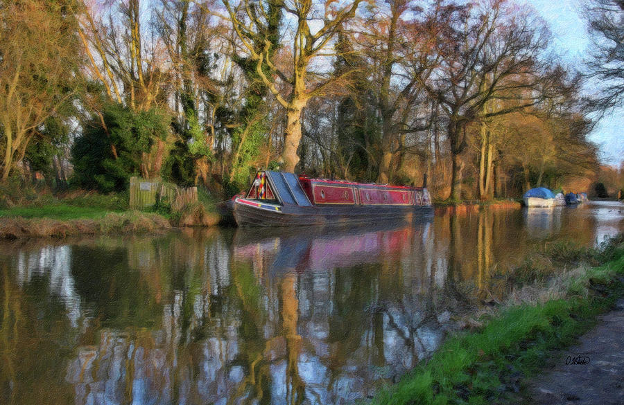 Narrow Boat Painting - Narrow Boat On Wey Navigation - P4a16008 by Dean Wittle