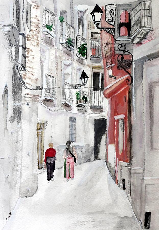 Narrow Street Painting by Cathy Jourdan