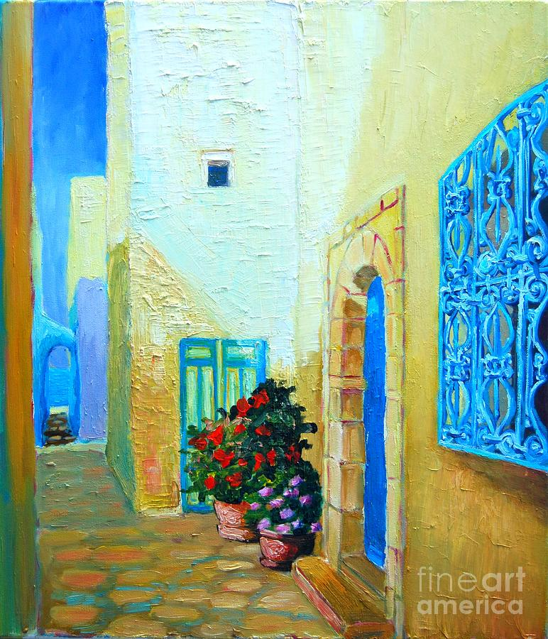 Blue Painting - Narrow Street In Hammamet by Ana Maria Edulescu