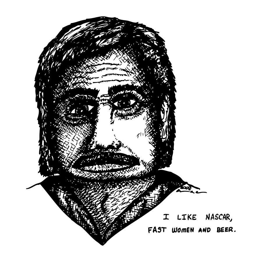 Drawing Drawing - Nascar Comic by Karl Addison