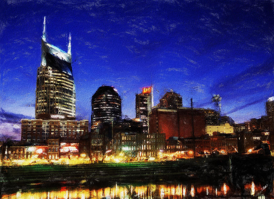 Landscape Painting - Nashville At Twilight by Dean Wittle