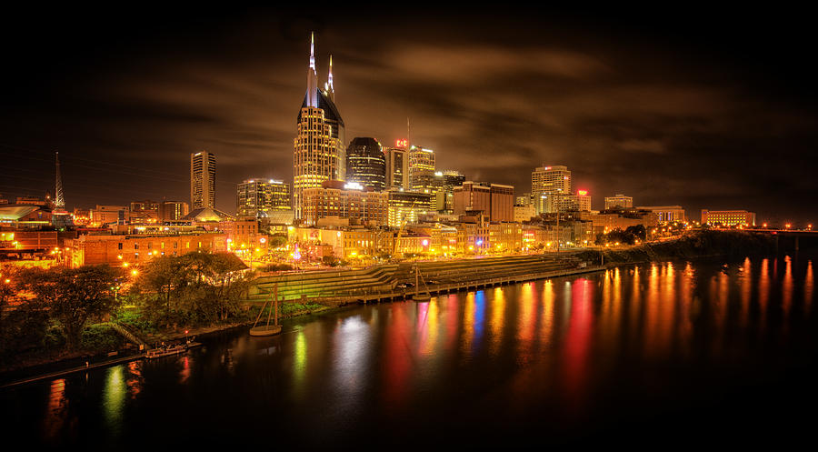 City Photograph - Nashville City Lights by Stuart Deacon