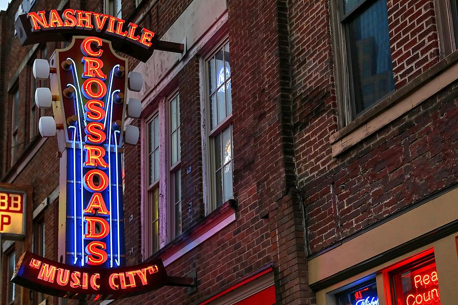 Neon Signs Photograph - Nashville Crossroads Music City  by Carol Montoya