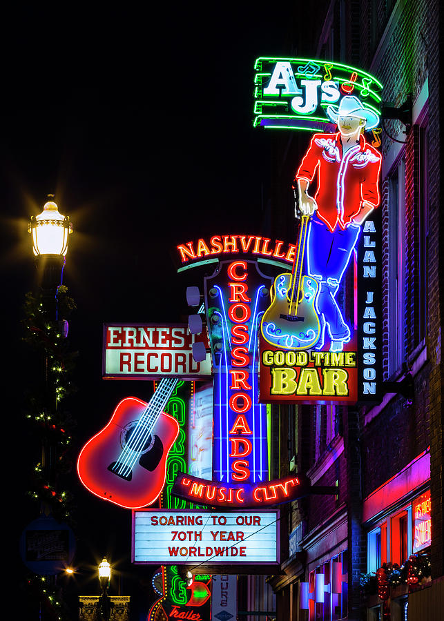 Nashville Photograph - Nashville Neon Broadway by Stephen Stookey