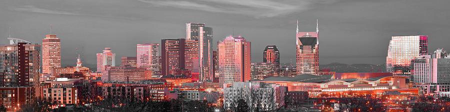 Nashville Skyline Art Version 2018 1 to 4 Ratio Panorama Color by Jon Holiday